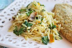 Spinach and Mushroom Orzo Pasta: Young Family Favorite! Serve warm or cold. Very good side or salad. Yummy! The Orzo adds a nice twist.