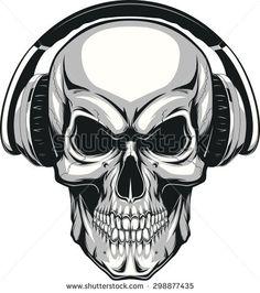 stock-vector-skull-with-headphones-298877435.jpg (416×470)