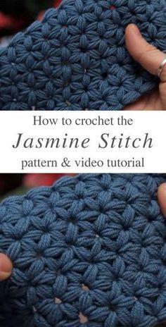 How To Make The Jasmine Stitch Crochet - Leela B. - How To Make The Jasmine Stitch Crochet Jasmine Stitch Crochet Free Pattern Video Tutorial - Crochet Stitches Free, Free Crochet, Crochet Baby, Different Crochet Stitches, Crochet Beanie, Crochet Man Scarf, Knitting And Crocheting, Crochet Star Stitch, Crochet Stitches For Blankets