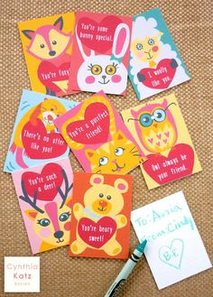 Kids Valentines Day Cards // Colorful Animal by CynthiaKatzDesign #cynthiakatzdesign #valentinesdaycard