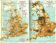 The population density of Britain, before and after the Industrial Revolution. 21 Maps That Will Change How You Think About Britain Map Of Britain, Great Britain, Tudor, History Timeline, Old Maps, Vintage Maps, Antique Maps, Map Design, Industrial Revolution