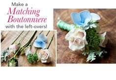 Learn how to make a boutonniere! You can make your bridal bouquet ahead of time with faux flowers and use the left overs for your boutonnieres! #diywedding  Design: Pumpkin and Pye