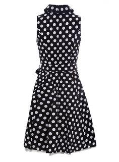 £24 Izabel London Black White Polka Dot Dress