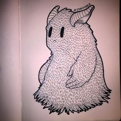 "Inktober // Day 22 ""Hairy Monster"" #inktober #inktober2015 #sketch #sketchbook #hairy #monster"
