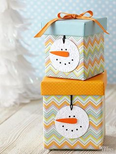 These+frosty+cuties+will+add+cheer+to+your+tree+and+are+quick+and+easy+crafts+to+make.+Punch+a+circle+from+embossed+or+snowflake-patterned+white+cardstock.+Cut+out+carrot+nose+from+orange+cardstock+and+attach+with+foam+adhesive+dots+(available+at+crafts+stores).+Draw+on+eyes+and+mouth+with+black+marker.+Punch+a+small+hole+on+the+top+of+the+ornament+and+thread+loop+through+hole+to+hang./
