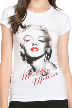 """A white knit tee featuring a round neckline, short sleeves, and a Red Lipped Marilyn Monroe graphic. - 95% Cotton, 5% Spandex - Hand Wash Cold - No Bleach - Model is 5'10"""", Bust 32"""", Waist 25"""", Hips 3"""