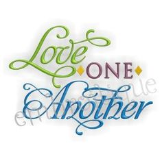 Love One Another Embroidery Design  Home Decor  by Embroitique