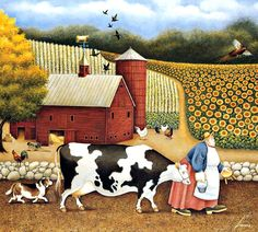 'Aunt Sadies Farm' by Lowell Herrero Primitive Painting, Primitive Folk Art, Arte Country, Cow Painting, Farm Art, Cow Art, Country Paintings, Arte Popular, Naive Art