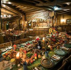 Medieval-ish Hobbit Feast at Green Dragon Inn, Hobbiton, The Shire