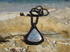 Ruby Zoisite (Anyolite) healing stone macrame pendant