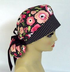 Women's Bouffant Scrub Hat or Cap Poppies and by ScrubsbyEdie