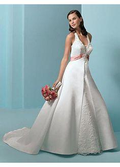 Elegant Satin A-line Halter Neckline Wedding Dress