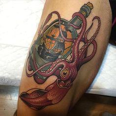 Neo Traditional Tattoo by Rodrigo Kalaka NeoTraditional NeoTraditionalTattoos NeoTraditionalTattooing NeoTraditionalArtists BestArtists RodrigoKalaka bottle ship octopus