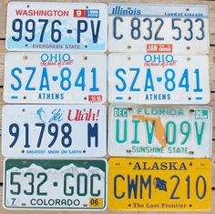 VTG LOT 8 License Plates Athens Ohio Florida Alaska Colorado Utah ILLINOIS  Car Vehicle Automobile Transportation Craft Diy by eclecticka on Etsy