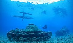 Tanks on the bottom of a lagoon at New Britain Island, Papua New Guinea.