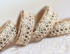 Napkin Rings Organic Bamboo Vintage French Lace Beige Set of Four OOAK Holiday Home Decor teamcamelot tbteam elitett From Etsy What a neat idea from bracelets! French Lace, French Vintage, Vintage Lace, Napkin Folding, Creative Crafts, Napkin Rings, Napkins, Creations, Handmade