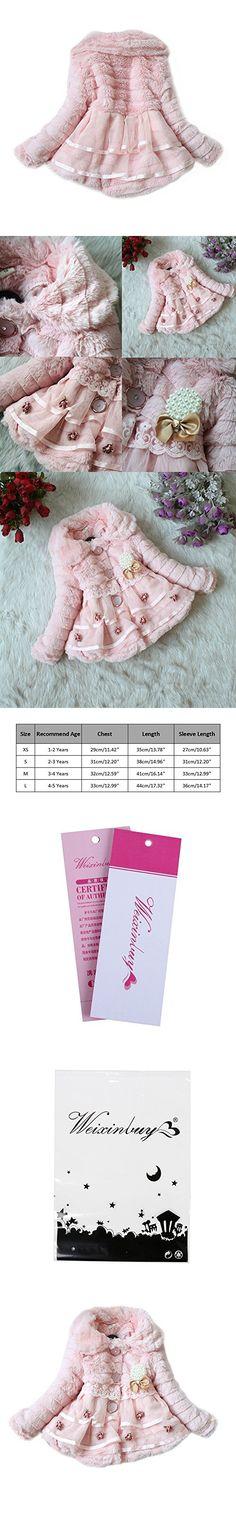 Weixinbuy Kids Girls Faux Fur Fleece Lapel Coat Winter Warm Jacket Pink XS