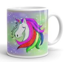 Unicorn Mug, Unicorn Gift Mug, Unicorn Lover Mug, Unicorn Large Mug, Girls Unicorn Mug, Girl Room Decor, Purple & Green Fabulous Unicorn Mug by UnicornGiftsFor on Etsy Unicorn Gifts, Gifts In A Mug, Girl Room, Unicorns, Room Decor, Mugs, Purple, Unique Jewelry, Handmade Gifts