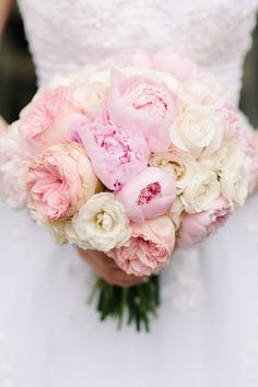 bouquet of pink peonies with white and blush roses