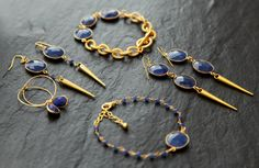 Sapphire bracelets and earrings by Rosehip Jewelry