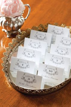 Elegant Placecards when people are assigned a table.  Free download from  Celebrate Magazine.
