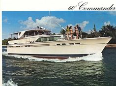 1969 year built, Chris-Craft Commander, luxury cabin cruiser, looking majestic as she cuts through the water at a comfortable speed. Wooden Speed Boats, Wooden Boats, Liveaboard Boats, Camper Boat, Chris Craft Boats, Ski Boats, Classic Yachts, Cabin Cruiser, Vintage Boats