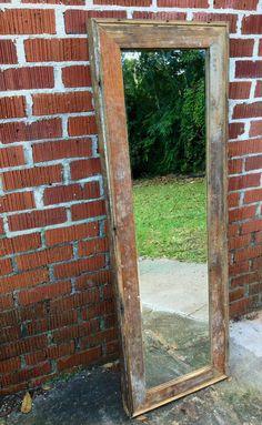 "Reclaimed wood full length mirror 53""x17"". $155.00, via Etsy."
