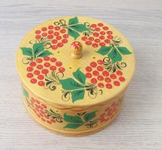 This is large vintage wooden box. Made in USSR The box is decorated with Khokhloma painting. Measures the box is 7 inches in diameter and tall. Wooden Boxes, Etsy Seller, Decorative Boxes, Create, Handmade Gifts, 1970s, Vintage, Home Decor, Wood Boxes