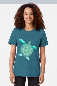 TYE AND DYE TURTLE 368 Tri-blend T-Shirt Designed and sold by sana90 $28.46 Pastels, Turtle, Shirt Designs, Women's Fashion, Turquoise, T Shirts For Women, Unique, Stuff To Buy, Inspiration