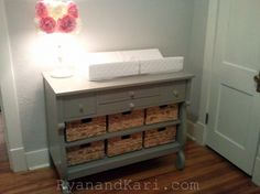 Painted antique dresser - changing table DIY. This would be great to change our already changing table dresser into a fun entryway later on.