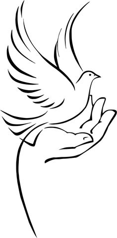 Dove On Hand Royalty Free Cliparts, Vectors, And Stock Illustration. Vogel Silhouette, Bird Silhouette Art, Silhouette Design, Pencil Art Drawings, Art Drawings Sketches, Easy Drawings, Animal Drawings, Stencil Patterns, Stencil Art