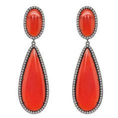 SUTRA Carnelian and Pave Diamond Pear Shape Earring