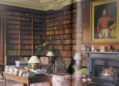 A corner of the Library at Tullynally in County Westmeath, Ireland. The Library in the 17th-century house was created in the early nineteenth century and contains about 6,000 books.