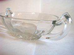 Vintage Clear Glass Relish Dish with Etched Daisy Design, Bowl with Handles, Small Glass Dish