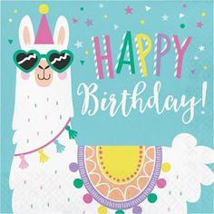 Lama Happy Birthday Servietten, 16 Stück_1