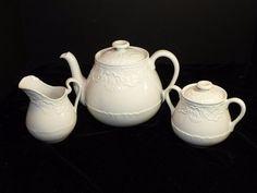 Ralph Lauren Claire by Wedgwood Teapot Creamer Sugar Bowl England  #RalphLauren