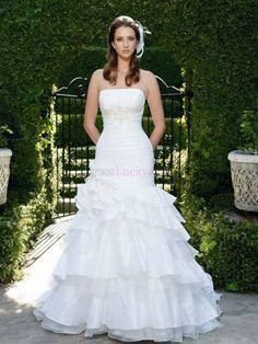 White Mermaid/Trumpet Strapless Sleeveless Hall Wedding Dresses With Flower(s) WD2777