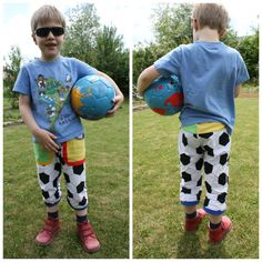 Fußballhose teils aus aussortierter Kleidung / Soccer pants partly made from discarded clothes / Upcycling