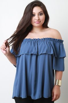c5036459672b95 Ruffle Off The Shoulder Top – Style Lavish Plus Size Tops
