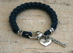 Bracelet Air Force Wife  / Air Force Girlfriend I love my Military Soldier Paracord bracelet Jewelry
