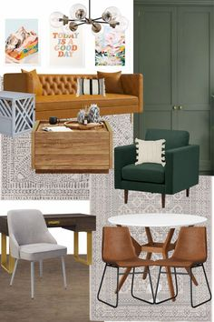 Four fun rec room/ Gameroom / Playroom / Hangout space design mood boards perfect for kids, teens and adults.
