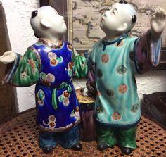 Vintage Porcelain Figurine of Chinese Hoho Boys with Drum   eBay
