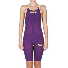 5cf181a09dc Arena Powerskin Carbon Air Open Back Kneeskin Purple Front Short Legs,  Plum, Full Body. SwimPath