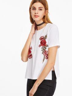 T-shirt 2017 mit Blumen Stickereien Weiß