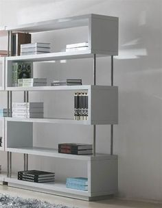 living room shelves. great divider for entry