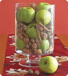 apples, acorns, walnuts and cinnamon sticks
