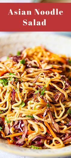 Asian Noodle Salad in Peanut Dressing - essen und trinken - Salat Asian Noodle Recipes, Asian Recipes, Ethnic Recipes, Vegetarian Recipes, Cooking Recipes, Healthy Recipes, Asian Noodles, Asian Cold Noodle Salad, Thai Noodle Salad