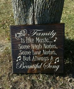 Family is like music- hand stained and painted sign, Wood wall art decor, Home decor, Art for family, Beautiful song, Family sayings by MyCountriCreations on Etsy