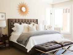Medium brown tufted headboard inspiration, to be custom made.