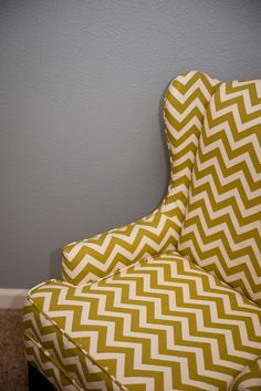 reupholster chevron wing chair
